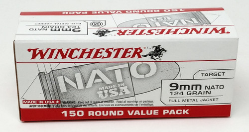 Winchester 9mm Nato USA9NATO 124 Grain Full Metal Jacket CASE 750 rounds