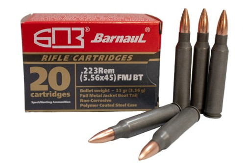 Barnaul 223 Remington Steel Case Ammunition 55 Grain Full Metal Jacket Case of 500 Rounds