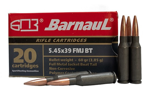 Barnaul 5.45x39 Steel Case Ammunition 60 Grain Full Metal Jacket 20 Rounds