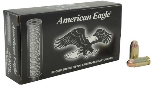 Federal American Eagle 45 Auto Suppressor Ammunition AE45SUP1 230 Grain Full Metal Jacket 50 Rounds