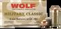 Wolf 9mm Makarov Ammunition Military Classic 94 Grain Full Metal Jacket 50 Rounds