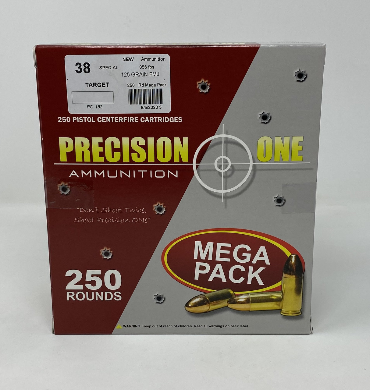 Precision One 38 Special Ammunition PONE152 125 Grain Full Metal Jacket Mega Pack 250 Rounds - Free Shipping with Buyer's Club! title=