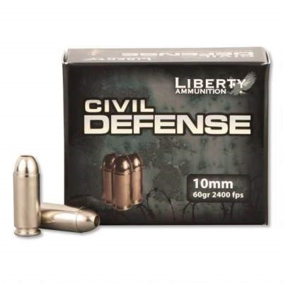 Liberty Ammo 10mm Ammunition Civil Defense LACD10032 60 Grain Fragmenting Hollow Point 20 rounds - Free Shipping with Buyer's Club! title=