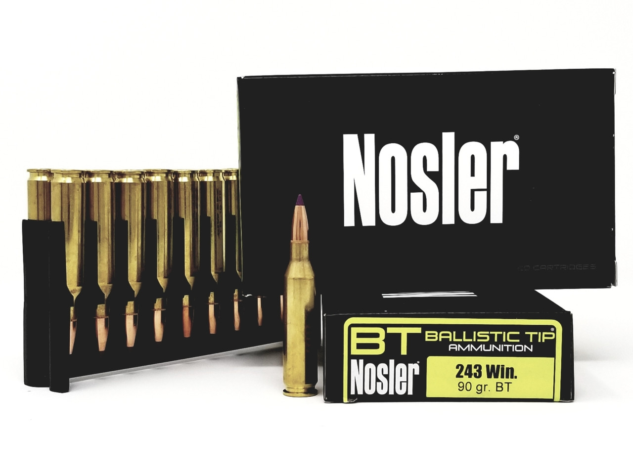 Nosler 243 Win Ammunition 40050 90 Grain Ballistic Tip 20 Rounds - Free Shipping with Buyer's Club! title=