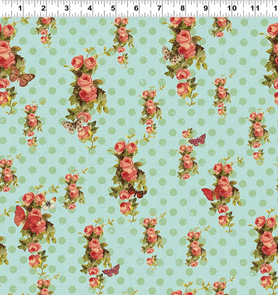 Devotion - Floral Dot Aqua 1/2 Metre Length