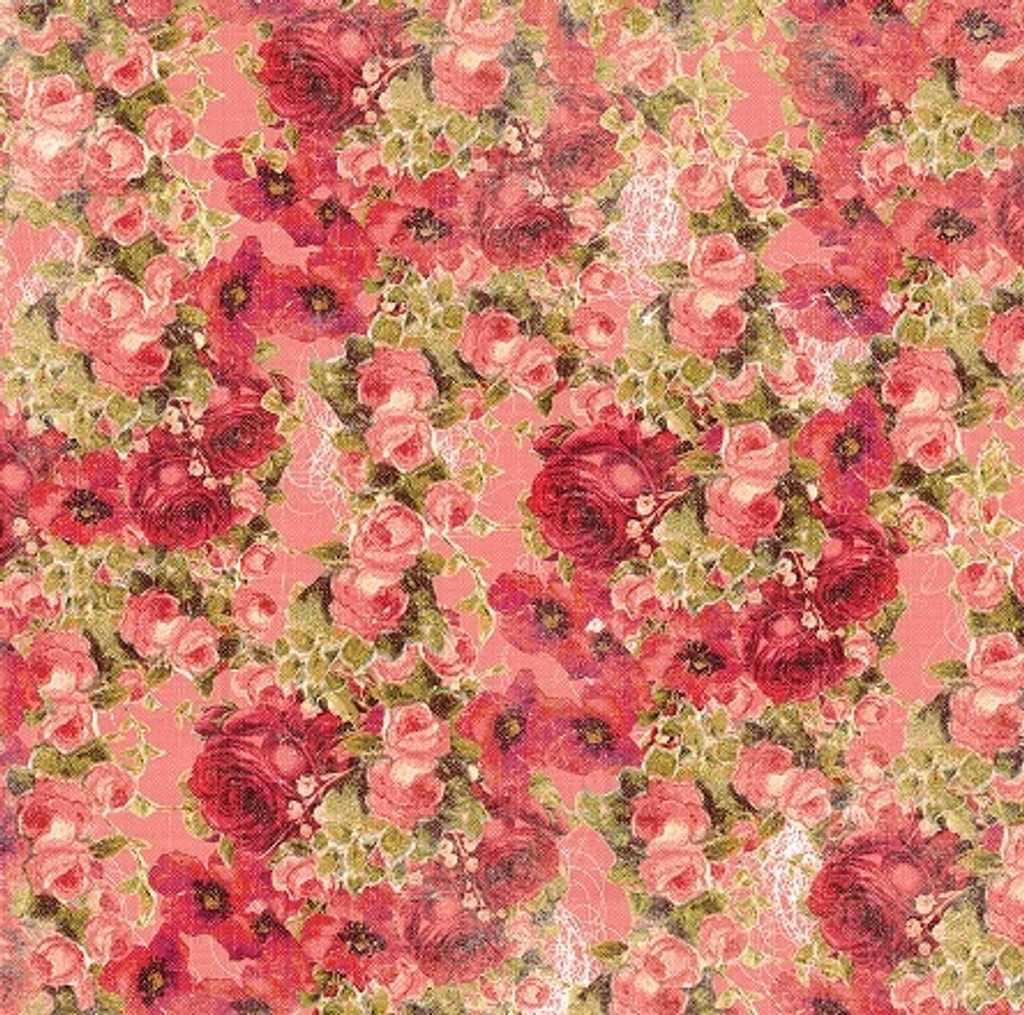 Devotion - Floral Coral 1/2 Metre Length