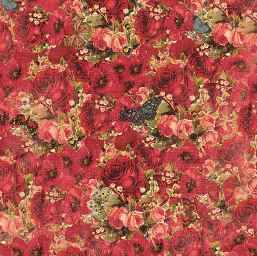 Devotion - Floral Red 1/2 Metre Length