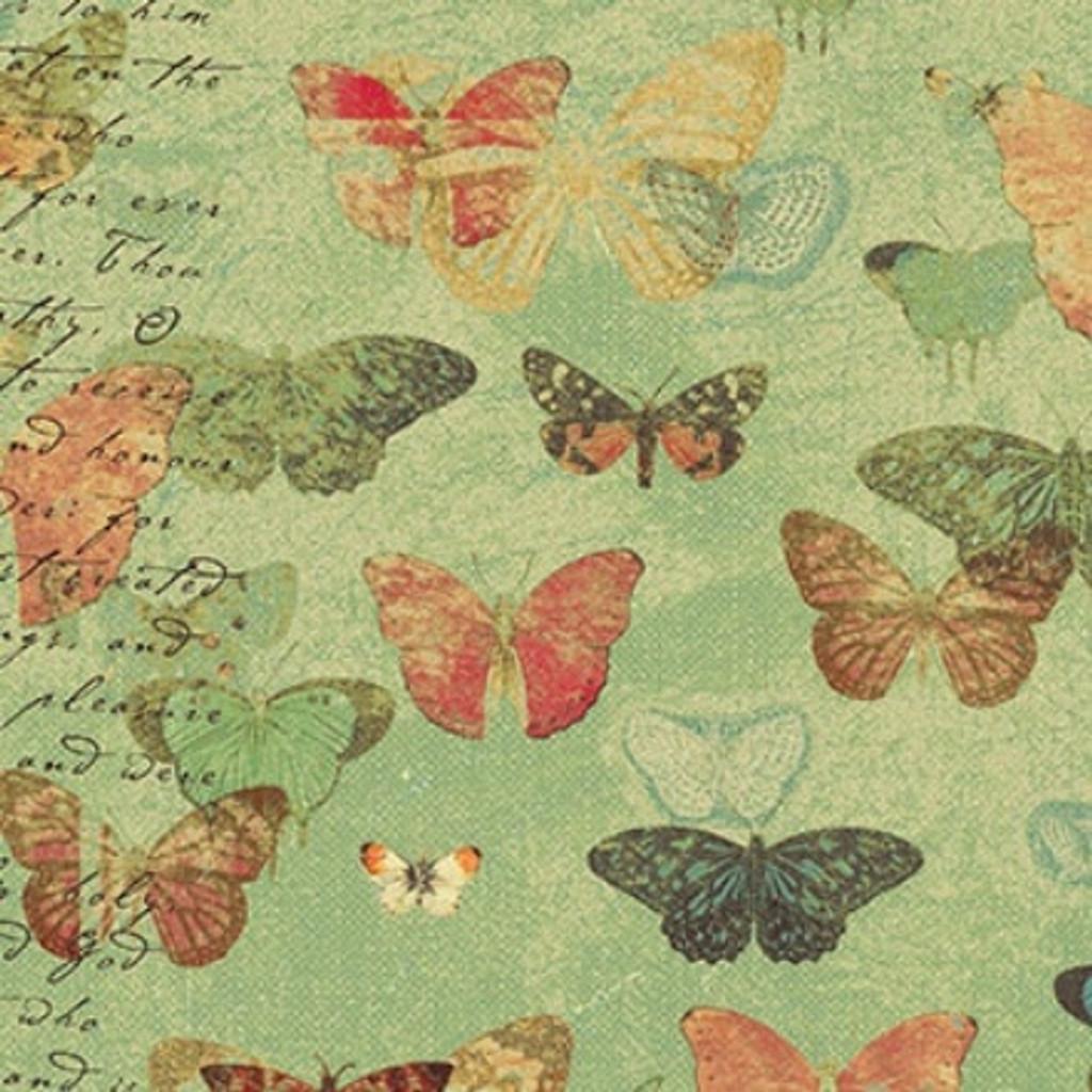 Devotion - Butterflies Green 1/2 Metre Length