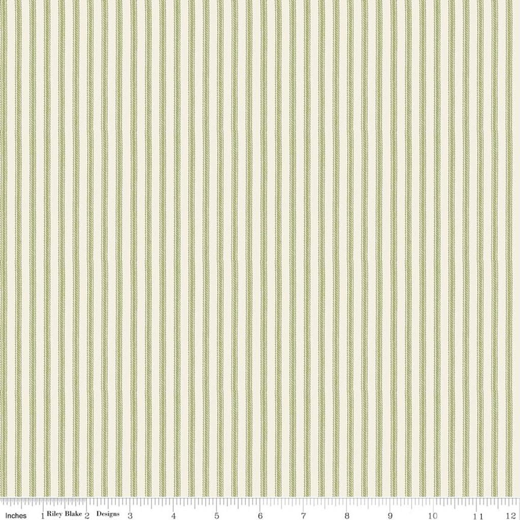 ANNE TICKING GREEN 1/2 Metre Length