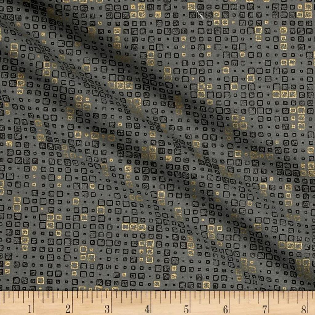 Lustre Metallic - Tiles Graphite 1/2 Metre Length