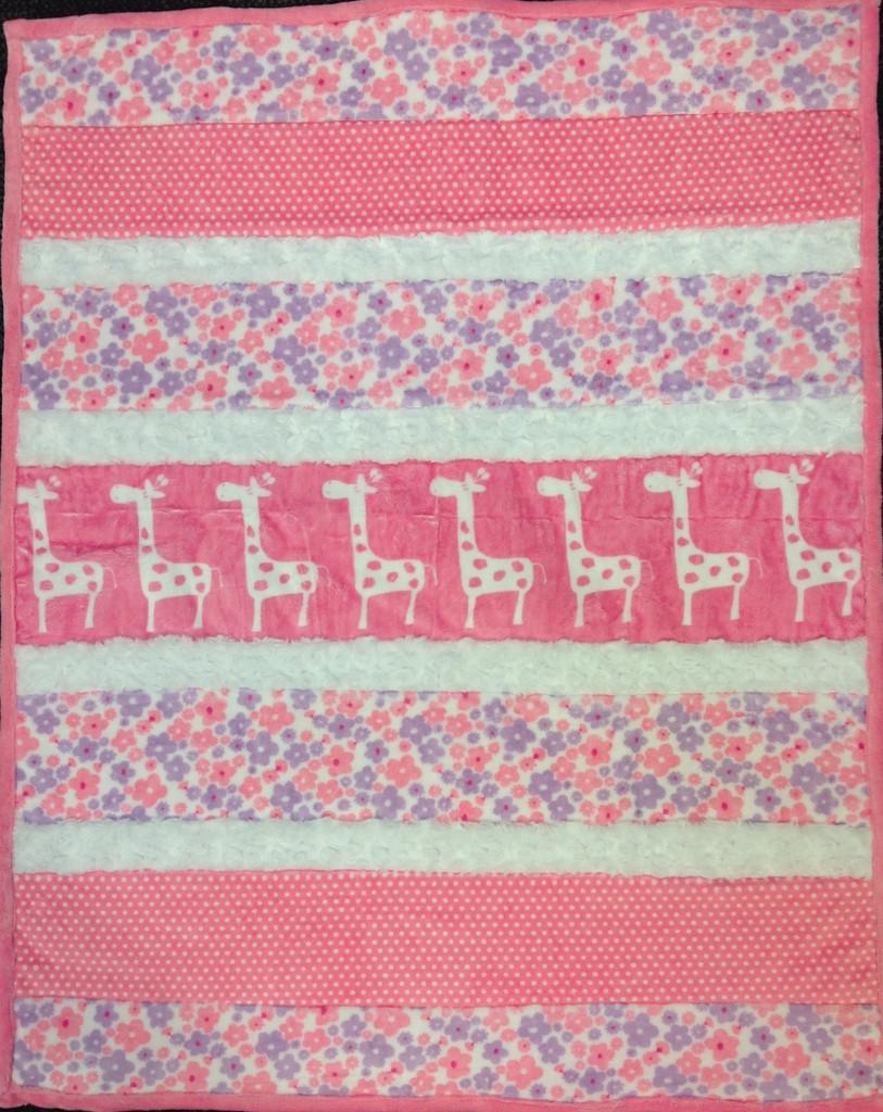 """Baby Pink Minky-Giraffe 30"""" X 38"""""""