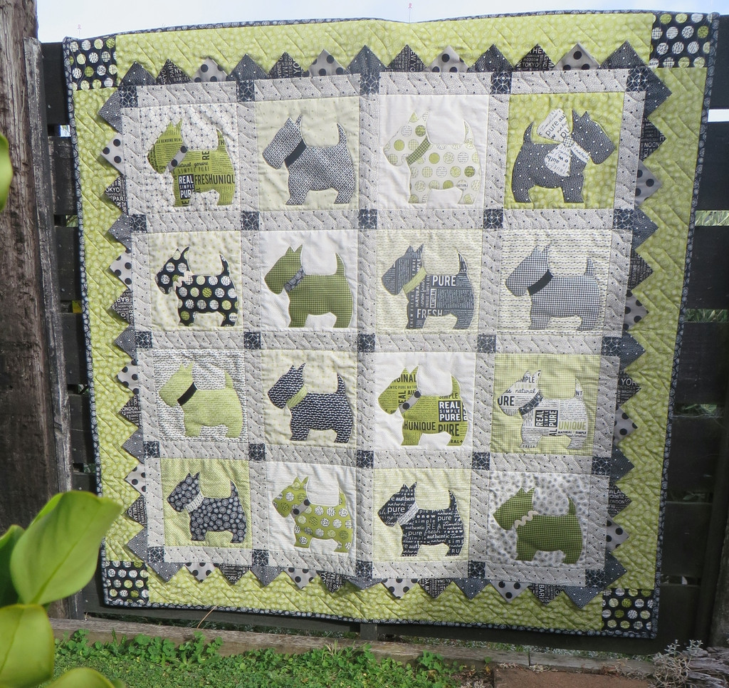 """Scotty Quilt - Bitsy Button & Friends finished  48 """" X  48"""""""