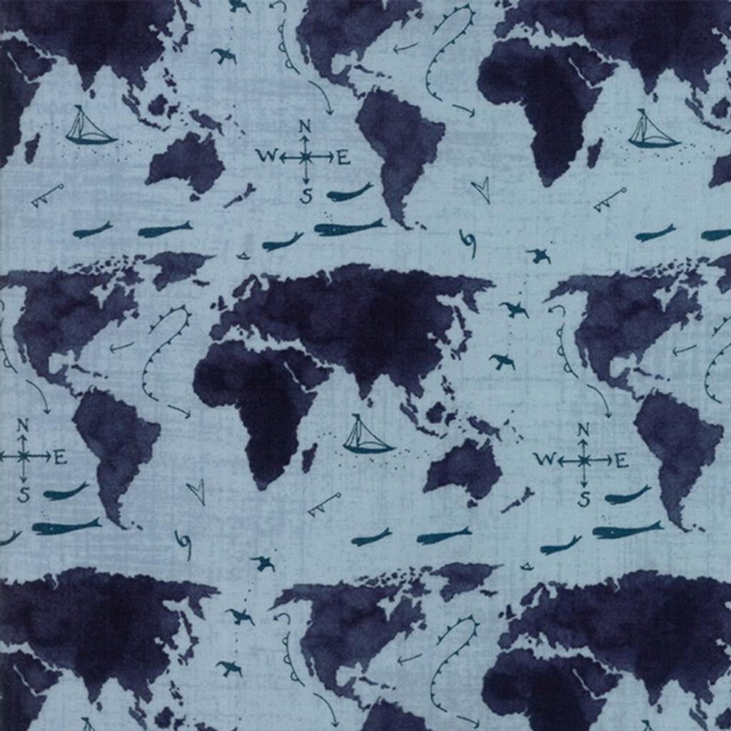 Moda Weather Permitting by Janet Clare Maps world forcast - per half meter length