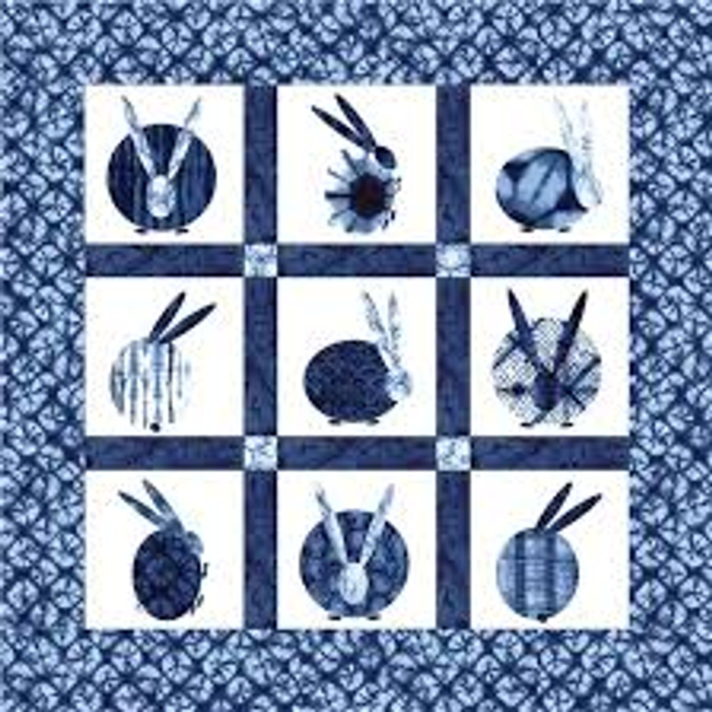 "Usagi Indigo Applique Quilt Kit 48 X 48"" small"
