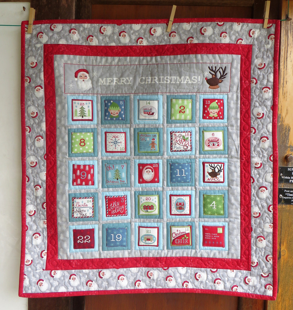 "Merry Christmas Advent Wall Hanging -   finished size 29"" X 32"""