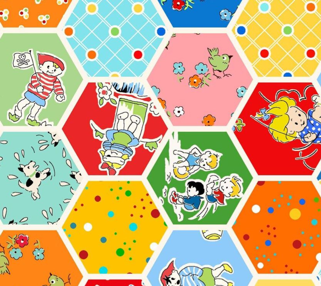 Midwest Playtime 1930s  ALL OVER HEXAGONS  - per half meter length