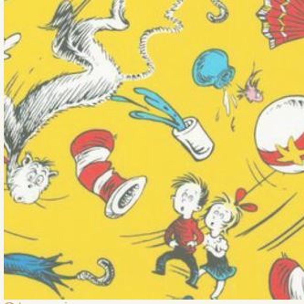 Dr Seuss - Celebrate Seuss Yellow- per half metre length