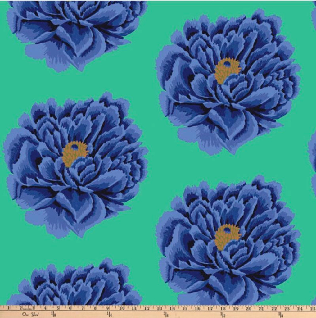 "Full Bloom BLUE 108"" wide backing  - per half meter length"