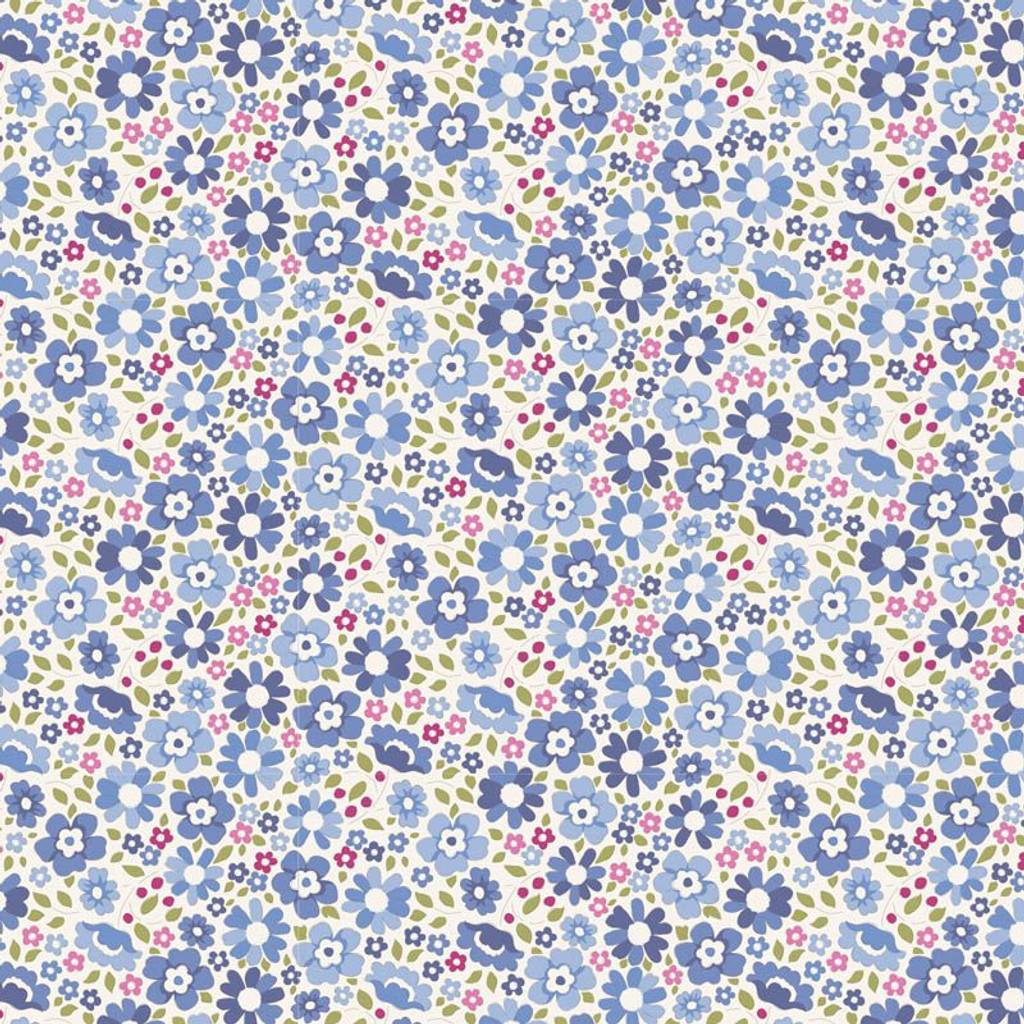 Clara Blue - Tilda Woodland collection - 1/2 metre length