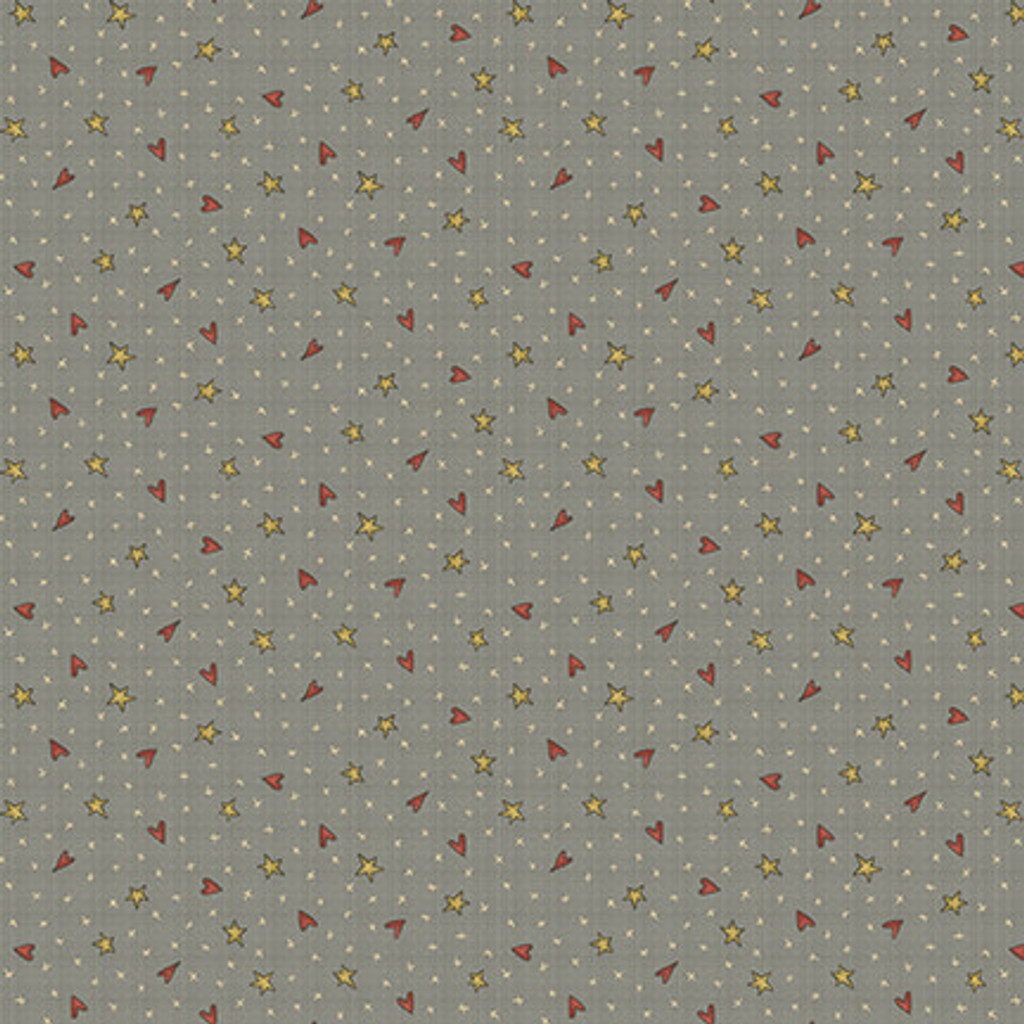 Hearts and Stars Blue - On the 12th day Collection - 1/2 metre length