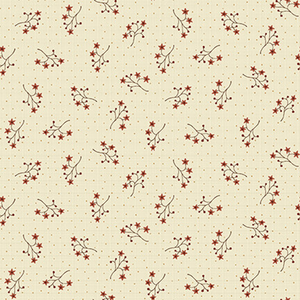 Starflower Sprigs Cream - On the 12th day Collection - 1/2 metre length