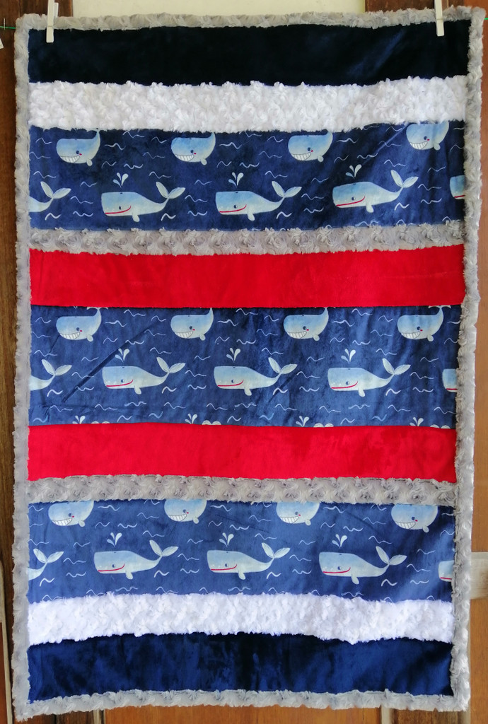 "Whale Time Minky Blue Quilt - 42 1/2"" x 30"""