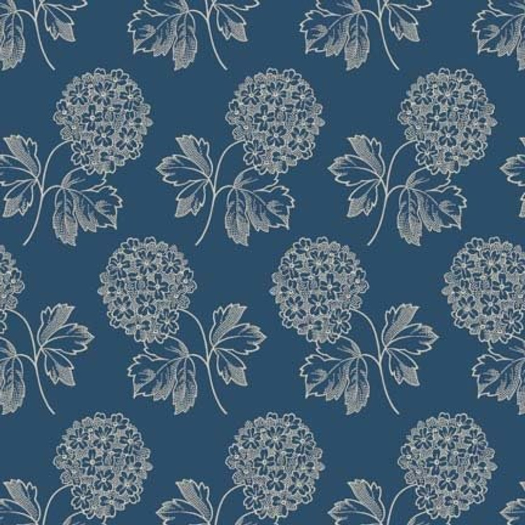 Cream flower bunch on dark blue | Blue Sky Collection | Laundry Basket Quilts by Edytar Sitar | 1/2 metre length