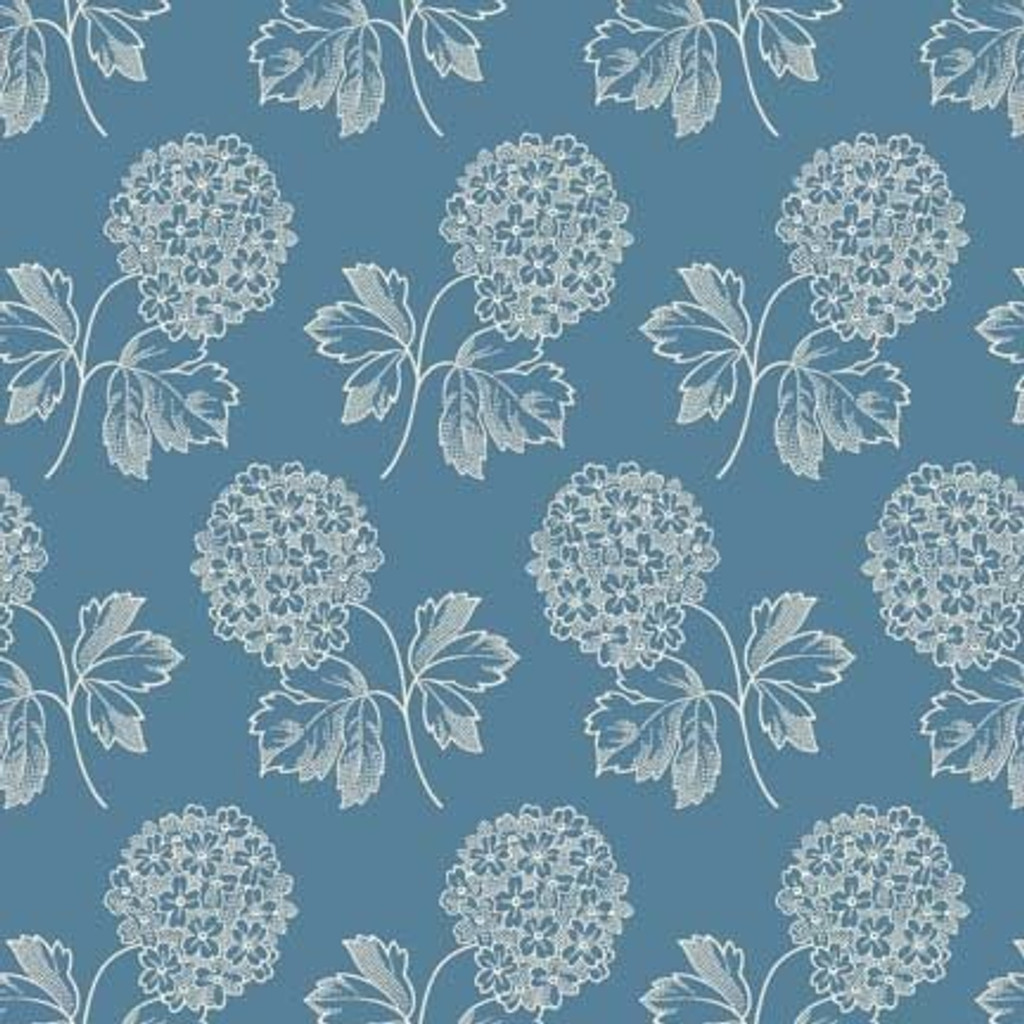 Cream flower bunch on light blue   Blue Sky Collection   Laundry Basket Quilts by Edytar Sitar   1/2 metre length