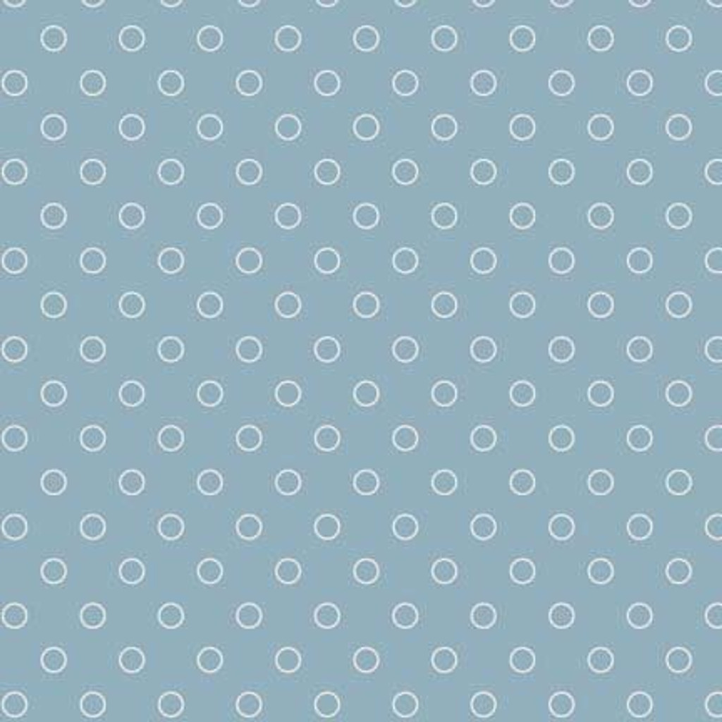 Cream circle on blue | Blue Sky Collection | Laundry Basket Quilts by Edytar Sitar | 1/2 metre length