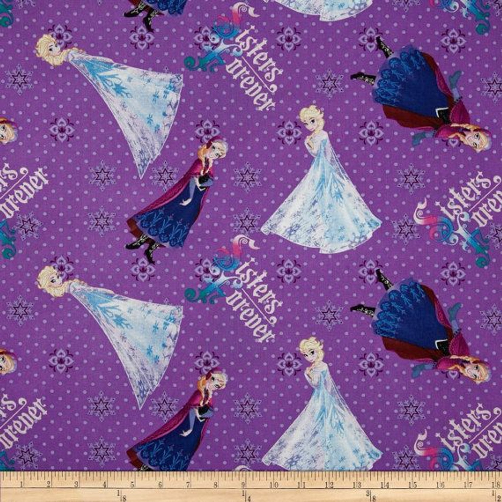 Frozen Sisters Forever Purple 1/2 Metre Length