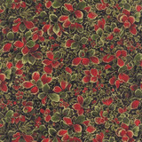 Holly Night Metallic - Winter Leaves Ebony 1/2 Metre Length