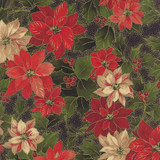 Holly Night Metallic - Poinsettia & Holly Ebony 1/2 Metre Length