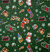 A Day in the Life of Santa - Tossed Toys Green 1/2 Metre Length