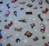 A Day in the Life of Santa - Tossed Toys Ivory 1/2 Metre Length