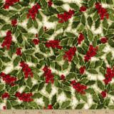 Holly Jolly Christmas - Holly Berry Ivory 1/2 Metre Length
