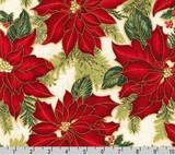 Poinsettia Holiday Flourish - Robert Kaufman per 1/2 metre length