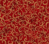 Crimson  -Holiday Flourish Robert Kaufman  per 1/2 metre length