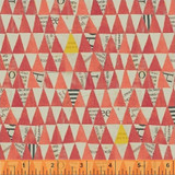 Wonder 50521- 6 col 17 red triangles by Carrie Bloomston  - per half metre length