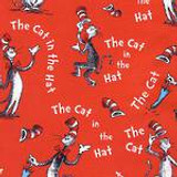 Dr Seuss - Cat in the Hat- Red  - per half metre length