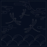 "Sashiko Cloth - Autumn 100% cotton  approx finish 12"" x 12"""