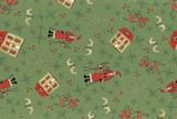 Lynette Anderson Scandinavian Christmas 2 Santas Green - per half metre length