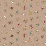 12th Day Circles Taupe- On the 12th day Collection - 1/2 metre length