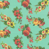 Aqua Floral | Flea Market mix by Cathe Holden | per 1/2 metre