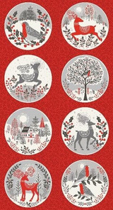 Scandi Christmas Circles on Red  per  .60cm repeat Panel