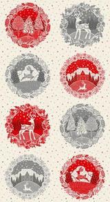 Scandi Christmas Circles on Cream per  .60cm repeat Panel