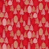 Scandi Christmas Trees on  Red per half metre length
