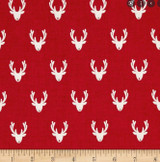 Scandi Christmas Reindeer heads Col Red -  per half metre length