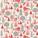 Scandi Christmas Col 104  Trees on cream - per half metre length