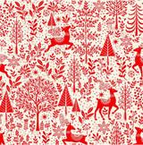 scandi Christmas Scenic 101 Red  -per half metre length
