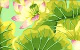 KF Classics - Lake Blossoms - Green  1/2 Metre Length